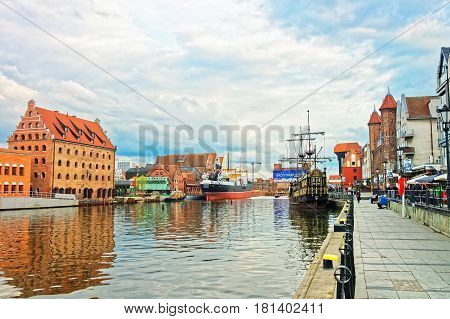 Old Ships At Waterfront Of Motlawa River In Gdansk
