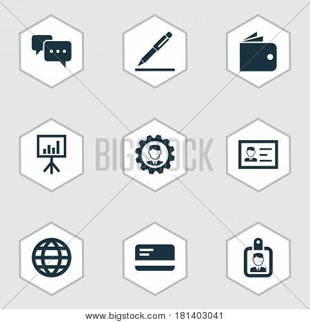 Job Icons Set. Collection Of Chatting, Billfold, Payment And Other Elements. Also Includes Symbols Such As Id, Card, Payment.