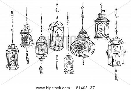 Hand drawn Ramadan Kareem and mosque backgroundbeautiful greeting card design elements.Vector illustration with flashlights. Islamic Festival celebration.Arabic lined lanterns isolated on white.