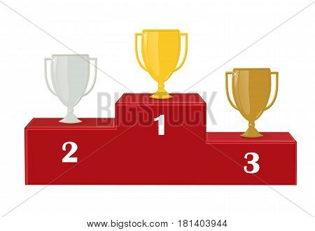 First, second and third place. Award for victory: gold, silver and copper. Cup winners on the red pedestal. Isolation