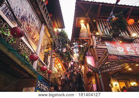 JioufenTaiwan - 28 Dec 2014: Night scene of Jioufen village in Taiwan.