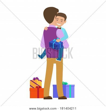 Smiling small boy holding gift box sits on father s hands and present boxes on floor. Vector illustration of child getting present from parent on holidays. Happy and surprising life moments.