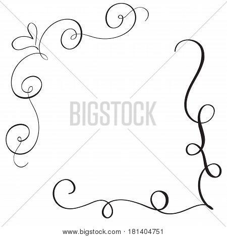vintage flourish decorative frame with art calligraphy whorls for design. Vector illustration EPS10.