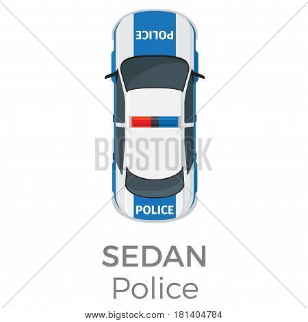 Police sedan top view icon. Modern patrol car with flashlights on roof flat vector isolated on white background. Emergency vehicle illustration for urban transport concepts and infographics design