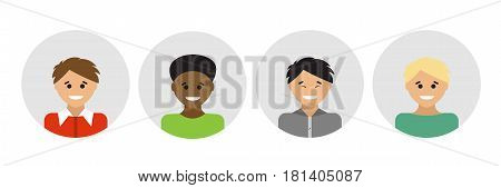 Multi-ethnic People Portraits. Vector illustration. Ethnic groups