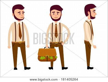 Businessman with beard in trousers with suspenders and with briefcase full of money isolated on white background. Man Model from different foreshortening. Vector illustration of male character.