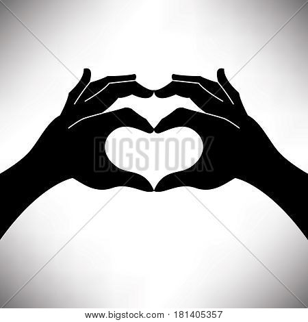 Heart shape hand Valentine's illustration with space for your text
