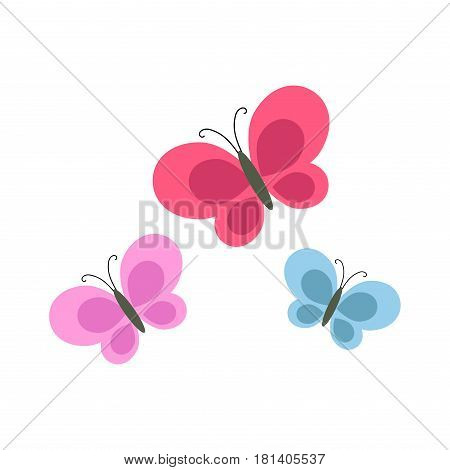 Bright cartoon butterflies of purple, pink and blue color isolated on white background. Vector illustration of beautiful fauna creatures. Earth flying beasts that live all over human world icons.