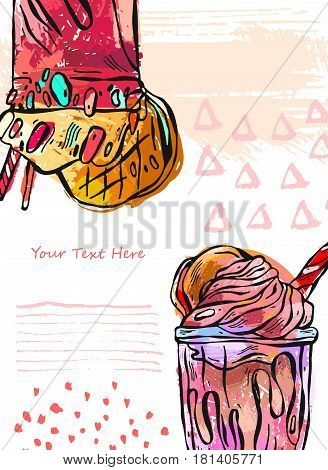 Hand draw vector textured card of milkshake.Design for kids menubirthday.Card template.Sweet background