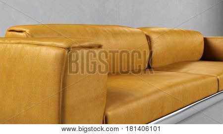 Leather yellow sofa in living room with gray wall (3D Rendering)