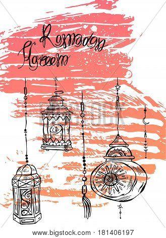 Hand drawn Ramadan Kareem and mosque greeting card.Ramadan Kareem vector background.Card template for ramadan holidayramadan celebration