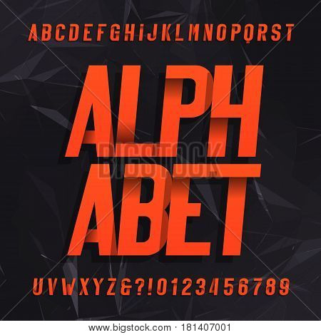 Decorative alphabet vector font. Oblique letters symbols and numbers  on a dark abstract background. Typography for headlines, posters etc.