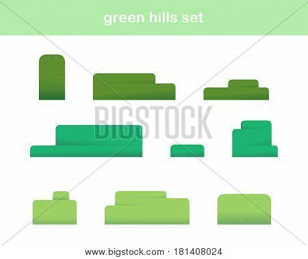 Green Hills Icons Isolated On White