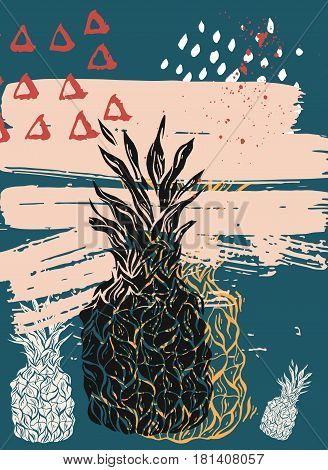 Hand drawn vector abstract textured pineapple card template.Paint texture backgroundartistic picture.Summer card.Pineapple vector.Design for street marketsummer party posterfun tropical background