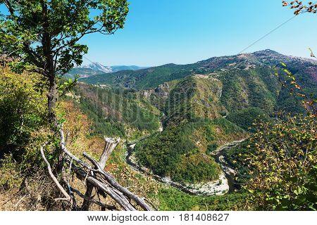 Meander of Arda River, dam Kardzhali, Bulgaria. Rhodope mountains.
