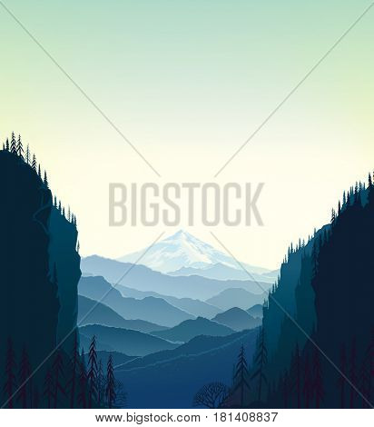 Mountain wildlife landscape, raster illustration.