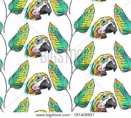Tropical jungle seamless pattern with parrot bird and palm leaf on white background.Hand draw abstract texture summer illustration.Tropical exotic birds pattern.Colorful tropic art.Tropical background