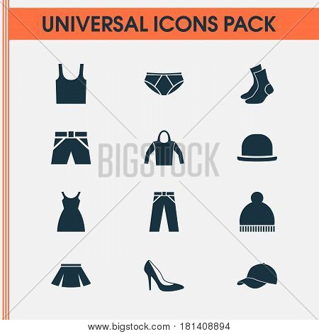 Dress Icons Set. Collection Of Pants, Half-Hose, Briefs And Other Elements. Also Includes Symbols Such As Sweatshirt, Pants, Visor.