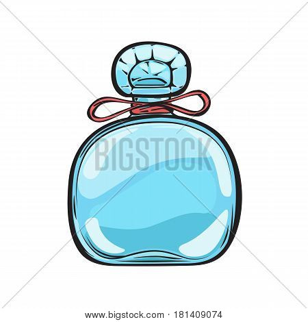 Blue glass bottle of expensive perfume with small red bow and carved lid isolated on background. Trendy smell in refined container. Vector illustration of pleasant women aromatic mean.