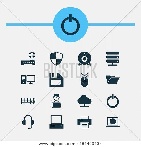 Computer Icons Set. Collection Of Personal Computer, Monitor, Dossier And Other Elements. Also Includes Symbols Such As Power, Diskette, Machine.