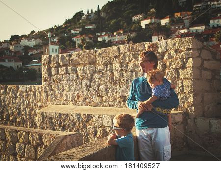 father with litte son and daughter travel in Dubrovnik, Croatia, family travel