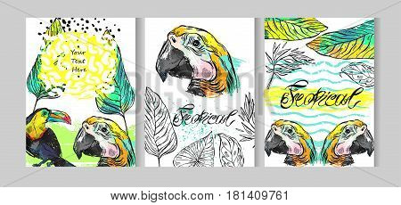 Tropical jungle template cards set with parrottoucan birds and tropical palm leaf on white.Hand drawn abstract texture summer illustration.Summer tropical background for journalingsave the datetext