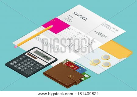 Isometric single Invoice, calculator and credit cards. Payment and billing invoices, business or financial operations sign. Vector concept for services rendered