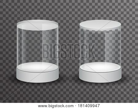 Round glass showcase box isolated 3d realistic shop mockup transparent background vector design illustration