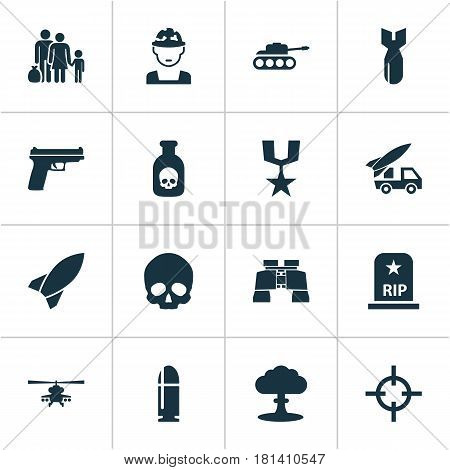 Army Icons Set. Collection Of Target, Military, Panzer And Other Elements. Also Includes Symbols Such As Cranium, Military, Fire.