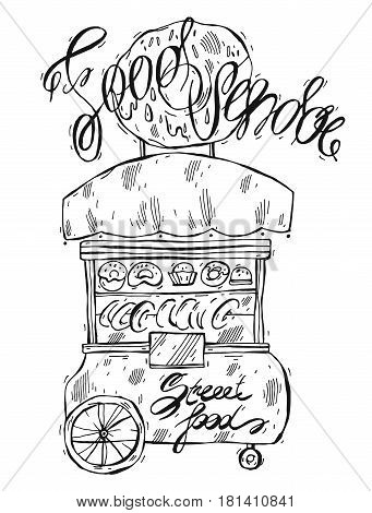 Hand drawn vector lined illustration of food vendor isolated on white.Design for street food.Vendor cart illustration.Street retail and wheel market.Street food kiosk and trolley.Lettering.Donuts sale