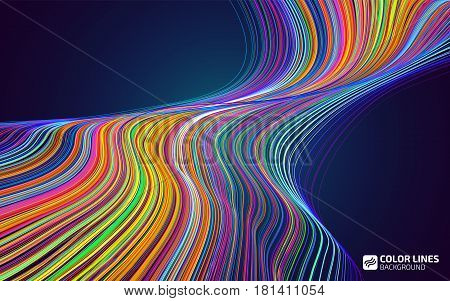Abstract color lines background. Moving colorful lines of abstract background. Moving color waves. Design elements for card, website, presentation. Abstract creative disco backdrop template.