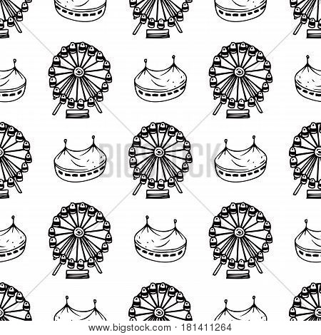 Simple Seamless Pattern with Circus and Ferris Wheel on a White Background. Black and White Line Art. Coloring Book