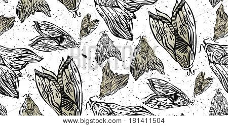 Seamless hand drawn vector  pattern of night fly and moths illustration.Template for making paper, wall paper, fabrics, textiles, packaging.Grunge modern texture background