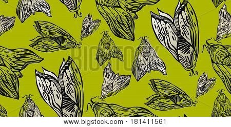 Cute line art  seamless pattern with night moth or butterflies illustration isolated background in vector.Abstract wallpaper with ornamental elements of insect.Black and lime colors