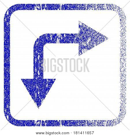 Bifurcation Arrow Right Down textured icon for overlay watermark stamps. Blue vectorized texture. Flat vector symbol with unclean design inside rounded square frame.