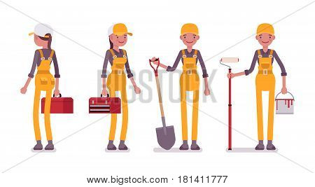 Set of female professional busy worker in standing pose, young and smiling, wearing yellow overall, holding toolbox, paint, roller, spade, full length, isolated, white background, front, rear view