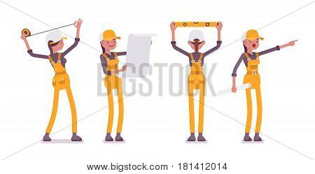 Set of female young professional worker, wearing yellow overall, doing measurement, planning with spirit level and tapeline, shouting, full length, front, rear view, isolated on white background