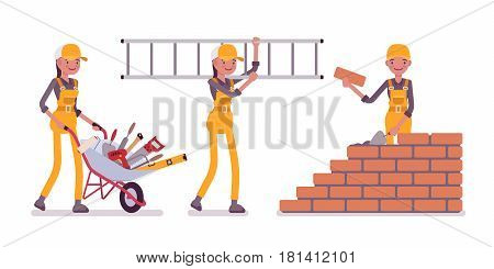 Set of young female construction worker wearing yellow overall, carrying a wheel barrow full with tools, a metal ladder, builder laying bricks in a wall, full length, isolated on white background
