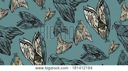 Cute seamless pattern with night moth or butterflies illustration isolated background in vector.Abstract wallpaper with ornamental elements
