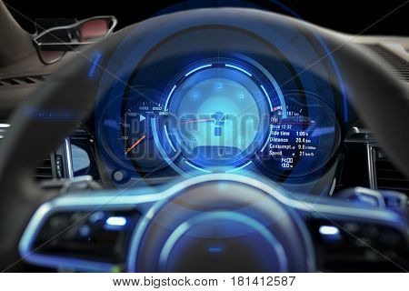 transport, drive and technology concept - close up of car dashboard with speedometer and tachometer