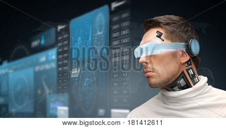 augmented reality, technology, business, future and people concept - man in virtual glasses and microchip implant or sensors looking at screen projections over dark background poster