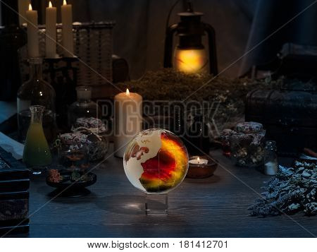 Mystical still-life. Magic ball dry herbs all for magical rituals. A lot of items