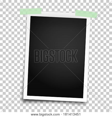 Realistic photo frame with straight edges placed vertically on wall by two pieces of green adhesive tape. Vector template photo design.