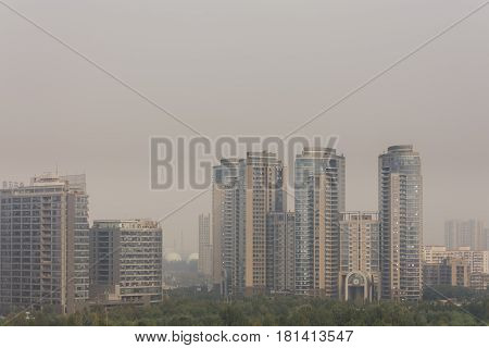 High angle horizontal building shot in beijing on a foggy day