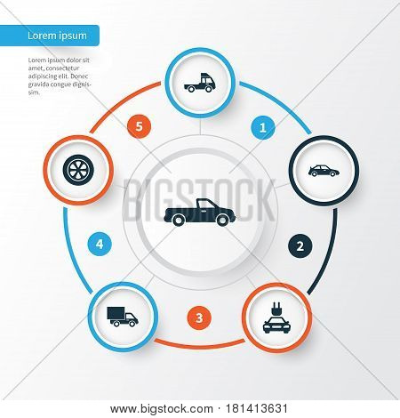 Car Icons Set. Collection Of Plug, Van, Lorry And Other Elements. Also Includes Symbols Such As Carriage, Automobile, Van.
