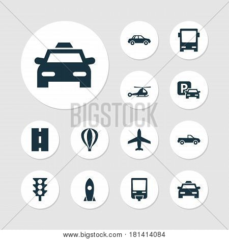 Transport Icons Set. Collection Of Spaceship, Cabriolet, Chopper And Other Elements. Also Includes Symbols Such As Automobile, Auto, Parking.