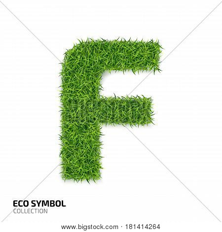 Letter of grass alphabet. Grass letter F isolated on white background. Symbol with the green lawn texture. Eco symbol collection. Vector illustration