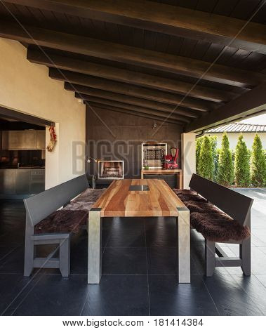 Veranda with table in exterior