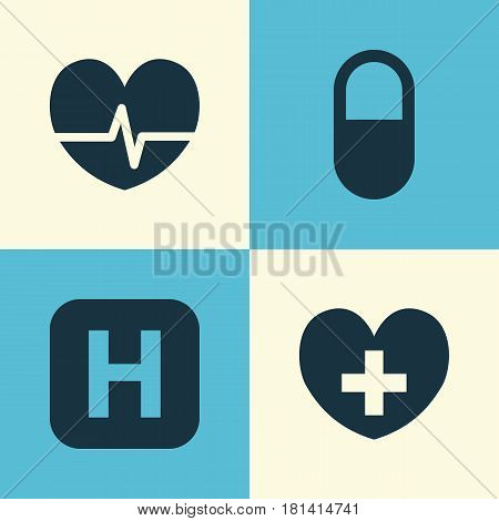 Medicine Icons Set. Collection Of Hospital, Pellet, Heal And Other Elements. Also Includes Symbols Such As Heal, Pulse, Capsule.