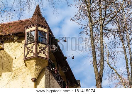 Helen Georgia USA - December 14 2016: Bottom view of the bay window on the corner of the tavern